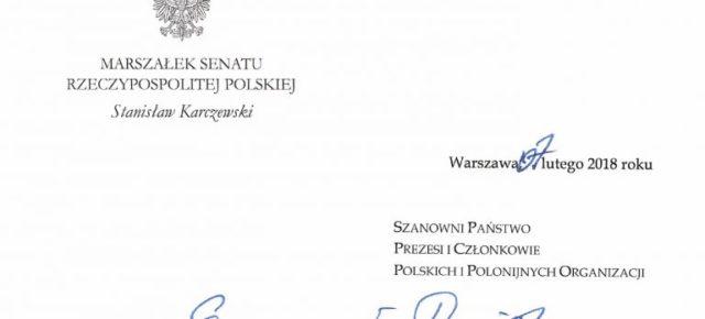 List marszałka Senatu do Polonii i Polaków za granicą w związku z ustawą o IPN